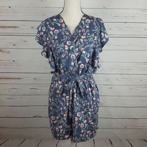 Time and Tru Blue Floral Belted Tie Romper M